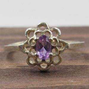 Size 6.5 Sterling Unique Amethyst Stone Band Ring